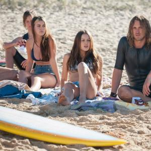 Tyler Atkins on set of Puberty Blues with Isabelle Cornish and Charlotte Best.