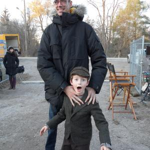 Mama feature film November 2011  on set with Javier Botet who played Mama