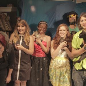 On the set of Be Meaner with Katie Miller Nicole Adsit Lully Wilder Sara Pittock Bill Scheuner Five Kittens Alice the Cat  Montetr