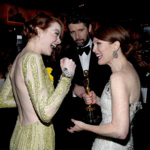 Julianne Moore Bart Freundlich and Emma Stone at event of The Oscars 2015