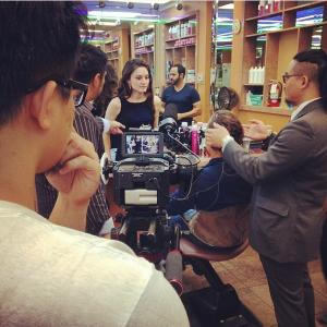 On the set of Murder Book in Houston Texas