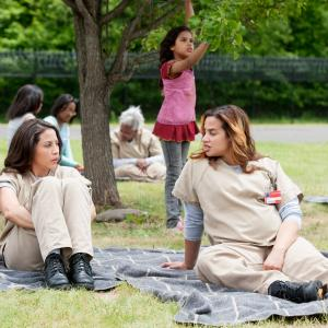 Still of Elizabeth Rodriguez and Dascha Polanco in Orange Is the New Black (2013)