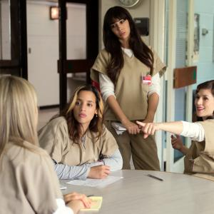 Still of Yael Stone, Taylor Schilling, Jackie Cruz and Dascha Polanco in Orange Is the New Black (2013)