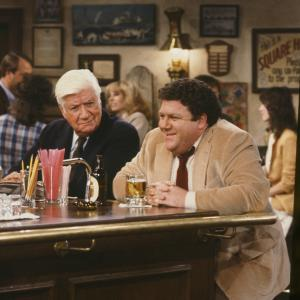 Still of George Wendt and Thomas P Tip ONeill in Cheers 1982