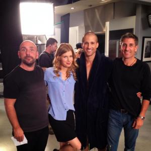 On the set of LOVE IS RELATIVE. With Director Dan Mazer, actress Jud Tylor and 1st AD.
