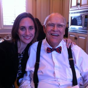 with David Huddleston on the set of The Accidental President