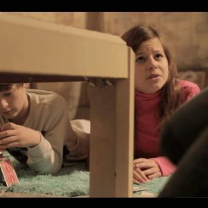 Joe Cipriano (left), Victoria Lurz (center) Niki Cipriano (right) in a still from the horror movie 'Dead Quiet'