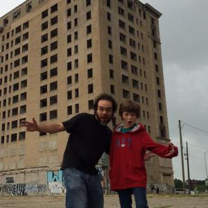 Comedian Rickey Reyes (left) with Joe Cipriano (right) on set of Lost in Detroit 2