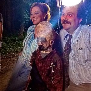 Tracey Walker (left), Joe Cipriano (center) as Melon Head, Jonathan Spencer on set of Melon Head