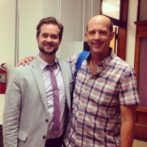 Brett Hays and Anthony Edwards on the set of FOOD 2014