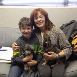 My awesome TV mom Francis Fisher and her dogs, August and Batman
