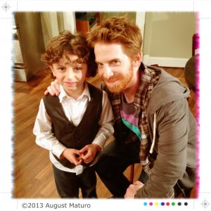 On set of DADS with Seth Green