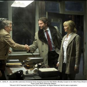 Still of Robert De Niro, Bradley Cooper and Jennifer Lawrence in Joy (2015)