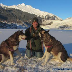 Skadi & Freya with Russell Josh Peterson in Juneau Alaska at Mendenhall Glacier - December 13, 2015. Thank you for your Kindness and Support!