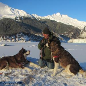 Skadi & Freya with Russell Josh Peterson in Juneau Alaska at Mendenhall Glacier December 13, 2015. Thank you for your Kindness and Support!