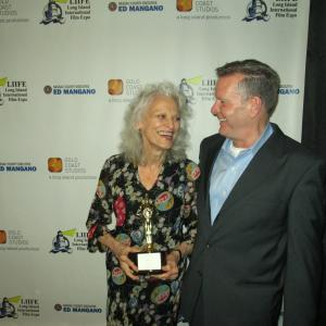 With Judith Roberts after receiving her awardBest Actress in a Short Film for My Day at the Long Island International Film Expo July 25 2013
