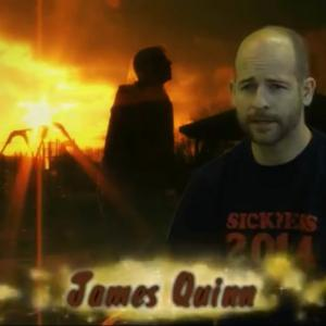 A screen cap from a behind the scenes interview of Sickness featuring James Quinn