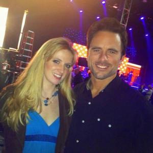 Sarah Turner Holland with Charles Chip Esten on set filming ABCs Nashville