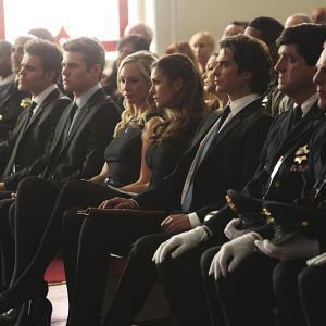 Still of Ian Somerhalder, Paul Wesley, Zach Roerig, Candice King and Nina Dobrev in Vampyro dienorasciai (2009)