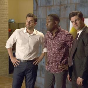 Still of Max Greenfield, Lamorne Morris and Jake Johnson in New Girl (2011)