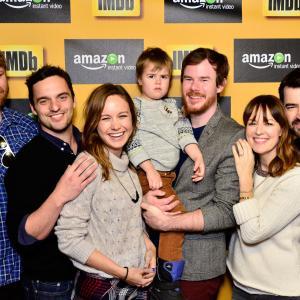 Brie Larson, Ron Livingston, Rosemarie DeWitt, Joe Swanberg, Steve Berg, Jake Johnson and Jude Swanberg at event of IMDb & AIV Studio at Sundance (2015)