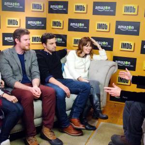 Brie Larson, Rosemarie DeWitt, Joe Swanberg, Jake Johnson and Keith Simanton at event of IMDb & AIV Studio at Sundance (2015)