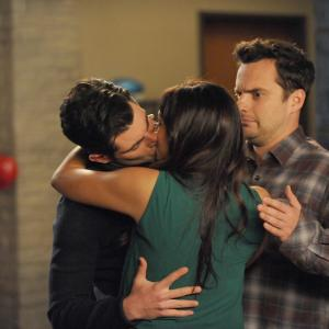 Still of Max Greenfield, Hannah Simone and Jake Johnson in New Girl (2011)