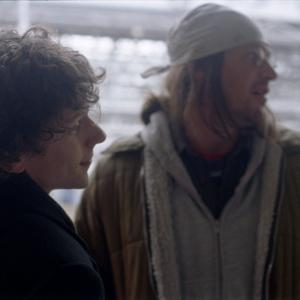 Still of Jesse Eisenberg and Jason Segel in The End of the Tour (2015)