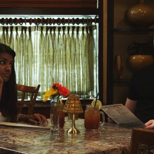 From left to right: Sharanya Ravi (Sunita), James Poole (Paddy) in the scene of their first date.