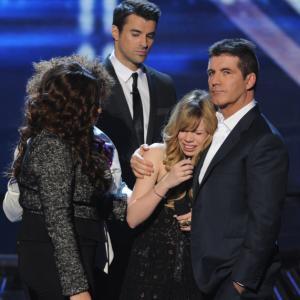 Still of Simon Cowell, Steve Jones, Melanie Amaro and Drew Ryniewicz in The X Factor (2011)