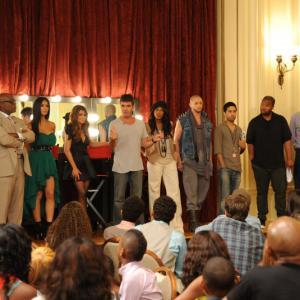 Still of Paula Abdul, June Ambrose, Brian Friedman, Nicole Scherzinger, Simon Cowell, L.A. Reid, Savan Kotecha and Claude Kelly in The X Factor (2011)