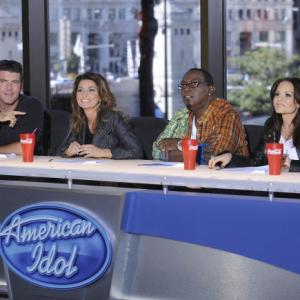 Still of Shania Twain, Simon Cowell, Randy Jackson and Kara DioGuardi in American Idol: The Search for a Superstar (2002)