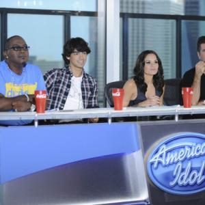 Still of Simon Cowell, Randy Jackson, Kara DioGuardi and Joe Jonas in American Idol: The Search for a Superstar (2002)