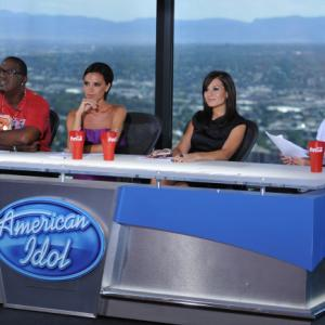Still of Victoria Beckham, Simon Cowell, Randy Jackson and Kara DioGuardi in American Idol: The Search for a Superstar (2002)