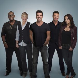 Still of Ellen DeGeneres, Ryan Seacrest, Simon Cowell, Randy Jackson and Kara DioGuardi in American Idol: The Search for a Superstar (2002)