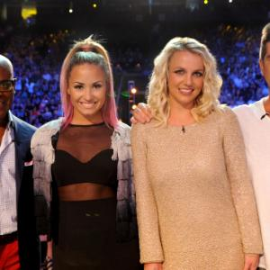 Still of Britney Spears, Simon Cowell, L.A. Reid and Demi Lovato in The X Factor (2011)
