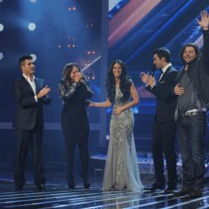 Still of Nicole Scherzinger, Simon Cowell, Steve Jones, Josh Krajcik and Melanie Amaro in The X Factor (2011)