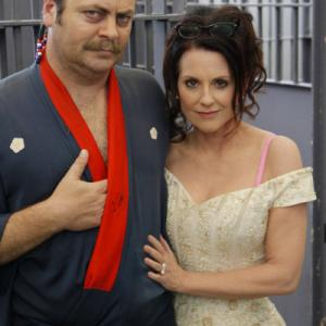 Still of Megan Mullally and Nick Offerman in Parks and Recreation 2009
