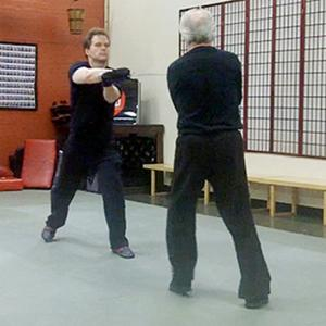 Mark Hildebrandt training in medieval sword fighting with Robert Goodwin