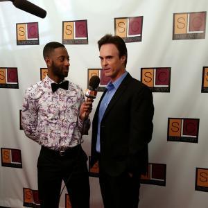 David L Schormann right being interviewed after receiving an award at an SLC Talent event 2015