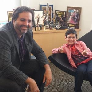Movie critic Juan Fernandez Paris interviewing Jorge Vega on the Amazing Spider Man 2 movie release for the Spanish TV network WAPA TV.