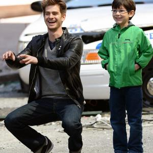 Jorge Vega and Andrew Garfield on the set of The Amazing-Spider-Man 2