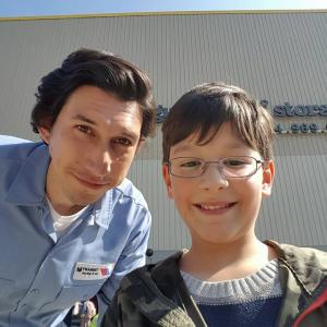 Adam Driver and Jorge Vega on the set of the film Paterson.