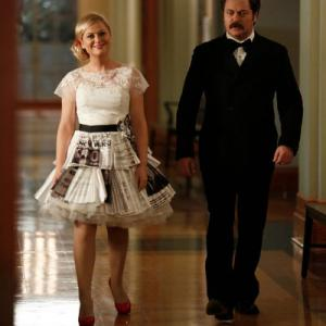 Still of Nick Offerman and Amy Poehler in Parks and Recreation 2009