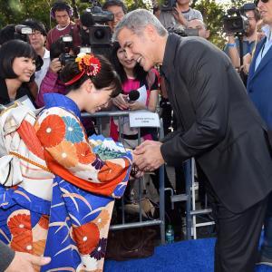 George Clooney and Mirai Shida at event of Rytojaus zeme (2015)
