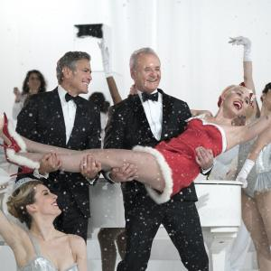 Still of George Clooney, Bill Murray, Paul Shaffer and Miley Cyrus in A Very Murray Christmas (2015)