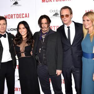 Johnny Depp, Ewan McGregor, Gwyneth Paltrow, Paul Bettany and Olivia Munn at event of Usuotasis Ponas Mortdecai (2015)