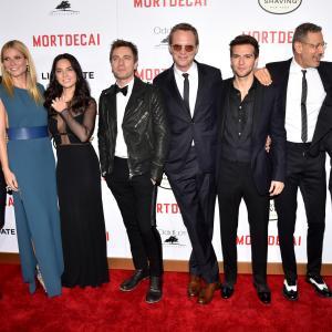 Johnny Depp, Jeff Goldblum, Ewan McGregor, Gwyneth Paltrow, Paul Bettany, Jonny Pasvolsky, Guy Burnet and Olivia Munn at event of Usuotasis Ponas Mortdecai (2015)