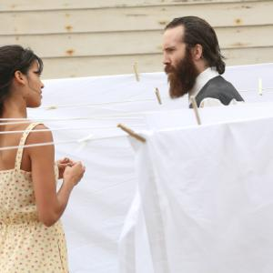Still of Steven Linder and Stephanie Sigman in The Bridge 2013
