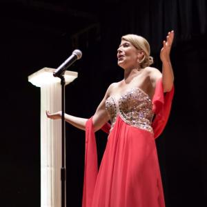Corinne Meadors singing at the Equality International Film Festival, Sacramento, CA, Nov 8, 2015.